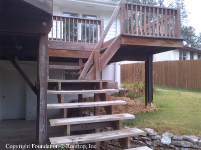 Deck hazards: Railing missing, handrail way too short, steps not uniform, landing with scabbed joists, stringers installed backwards