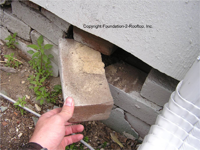 Old brick foundation falling apart